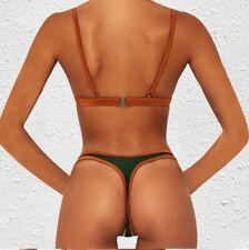 bikini moda mare costume due pezzi donna microbikini perizoma verde beige 5079