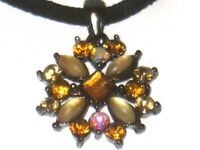 Necklace Topaz Sapphire Amber Floral Black Cord String Chain Flower Pink Womens