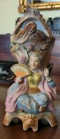 Antique German Nodder Vase HP Bisque Porcelain Pat T.T Asian Princess