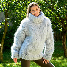 MEGA THICK Hand Knitted Mohair SWEATER GRAY PULLOVER EXTRAVAGANTZA 23 strands