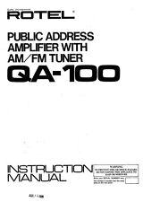 Rotel QA-100 Amplifier Owners Manual