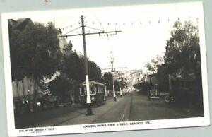 Rose Series postcard - P2825 Looking Down View Street Bendigo tram tramway
