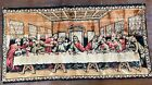 """Vintage THE LAST SUPPER Velvet Tapestry 37"""" x 20"""" Man Cave, Bar. Made in Italy"""