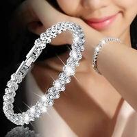 Damen Silber Kette Kristall Armreif Strass Zircon Armband schmuck geschenk