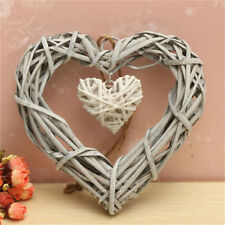 Resin Wicker Love-Heart Hanging Ornaments Wreath Rattan Home Wedding Party Decor