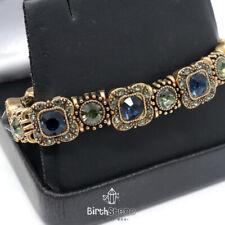 15.2Ct Turkish Vintage Blue Sapphire Clear Topaz Tennis Bracelet Jewelry Gift