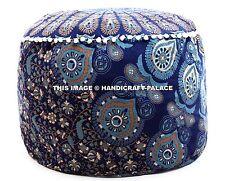 Indian Pouf Cover Handmade Footstool Boho Peacock Mandala Ottoman Round Tapestry