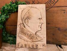 Vintage Pope Paulus VI Wall Plaque   Vintage Pope Wall Decor   Vintage Catholic
