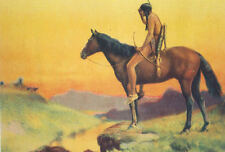 Indian on Horse looking at distant Wagon Train