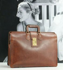 SCHLESINGER Vintage Leather Professional Briefcase Doctor Attorney Bag Mens