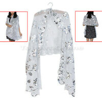 Bling Silver Sequin Shawl Flower Wedding Sheer Wrap Scarf Gift for Women Lady