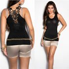 New Sexy Ladies Singlet Style Tank Top Lace Back Size S/M 6 8 10 ~ Black