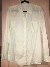 Gap Fitted Boyfriend Shirt Neon Lime Polka Dots Medium Excellent Condition