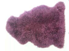 Sheepskin throw, rug, burgundy, long hair,made in New Zealand