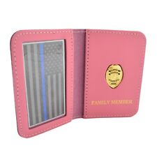 Police Officers Family Member Pink Leather ID Wallet Case Generic Mini Badge PBA