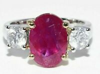 $10,000 5.90CT NATURAL MOZAMBIQUE RUBY & DIAMOND ENGAGEMENT RING 14K 2 TONE GOLD