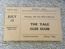 Concert Ticket - used, The Yale Glee Club