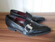 Chaussures mocassins cuir noir HEYRAUD 37,5 grosse boucle  petit talon
