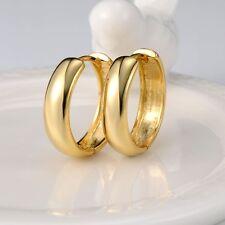 Luxury Jewelry 24k Yellow Gold Filled Womens Earrings 21MM Charm Hoop Huggie