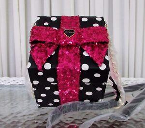 Betsey Johnson Kitsch Polka Dot Gift Box Sequin Bow Crossbody Bag Clutch NWT