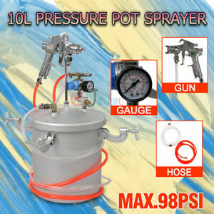 10L Pressure Pot Paint Spray Gun Tank Hose Gauge Air Tools Set Automotive House