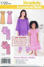 SIMPLICITY SEWING PATTERN 1722 GIRLS 3-6 EASY 'LEARN-TO-SEW' PYJAMAS & NIGHTGOWN