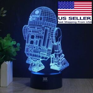 3D Multicolored LED R2-D2 Table Lamp Night Light USB or Battery Powered