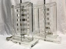 Pair Vintage Mid Century Modern Stacked Lucite Table Lamps