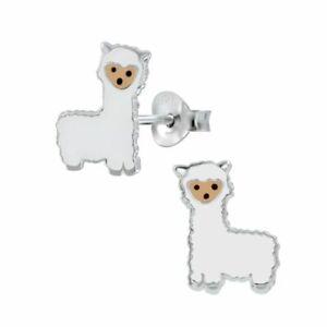 Girls Alpaca Llama Sterling Silver Stud Earrings 12mm - Cute Gifts