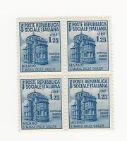 1944 RSI Rep Soc Italiana - Monum distr.-S. Maria Grazie 1,25L in quartina nuovi
