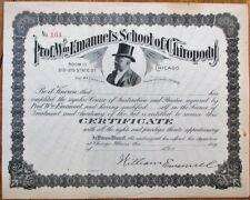 Black Man 1890s Stock Certificate: 'Prof. Wm. Emanuel's School of Chiropody'