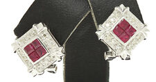 ESTATE 14K White Gold Ruby and Diamond Earrings
