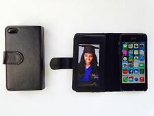 Black leather -Iphone 5S case/ wallet for Apple with built-in credit card slots