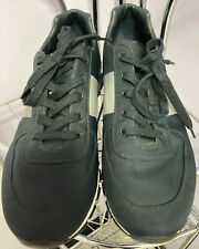 Prada Men's Modern Lace Up Navy Blue With Gray Stripe Sneakers Size 9 1/2!