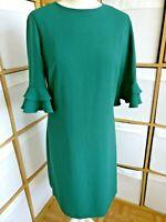 """HOBBS London Dress UK 10 EUR 38 Stylish Knee Length Green Shift Length 37"""""""