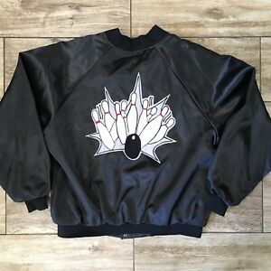 Vintage Nylon Jacket Bomber Varsity Snap XXL Bowling Alley Embroidered
