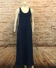 Inked & Faded Womens Medium Maxi Dress Blue Cotton Knit Racerback Long Casual
