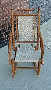 Victorian Antique Aesthetic doll child's children wood Rocking chair