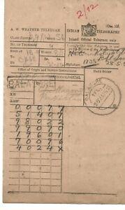 1952 India weather telegram