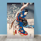 "Beautiful Japanese GEISHA Art ~ CANVAS PRINT 8x12"" Beauty in Kimono Snow"