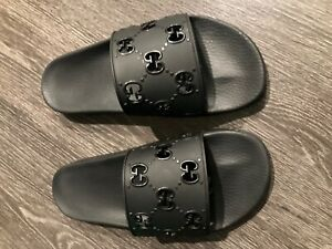 Gucci Slides GG rubber Black - Mens Size US 12 Mint store return