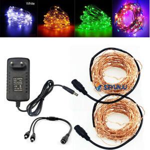 5m 10M LED DC12V Micro Rice Wire Copper Fairy String Lights Party DC female con