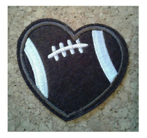 Football - Love Football - Sports - Coach - Heart - Embroidered Iron On Patch