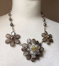 Butler & Wilson Necklace, Beaded Sparkly Crystal Flower Statement Chunky Bib