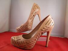 FR BCBGeneration PARADE Nude Cut-Out Gold Glitter Accent Platform Stiletto Heels