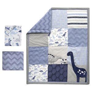 Crib Bedding Set Baby Boy Blue Gray 3 Piece Dinosaur Nursery Quilt Sheet New