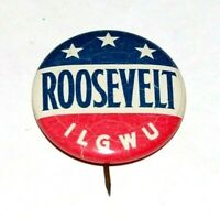 '36 ACWA Franklin Roosevelt FDR campaign pin pinback button political president