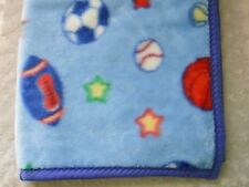 Crown Crafts Sports Ball Baby Blanket Blue Star Football Soccer Basketball