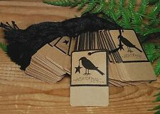 100 CROW Kraft Price Tags --- Perforated & Pre Strung on Heavy stock - primitive