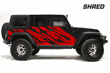 Custom Vinyl Graphics Decal Wrap Kit SHRED Jeep Wrangler Rubicon 2007-2016 RED